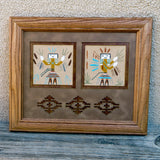Native American Indian Navajo Framed Sandpainting-Female Yei Design-Alta Yazzie