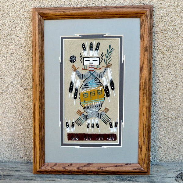 Native American Art-Authentic Navajo Framed Sandpainting-Yei Design-Marlene Doby