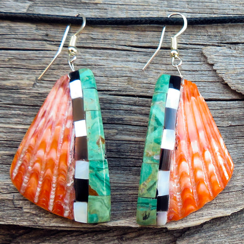 Native American Jewelry-Santo Domingo/Kewa Pueblo-Large Spiny Oyster Shell with Stone Inlay Earrings - Torevia Crespin