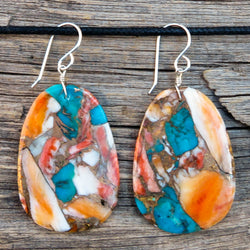 Native American Jewelry-Santo Domingo/Kewa Pueblo-Large Turquoise & Spiny Oyster Slab Earrings-Ronald Chavez
