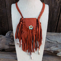 Native American Medicine Bag - Dene Handmade Brown Leather Fringe Medicine Bag-Nathalie Waldman - And the Crow