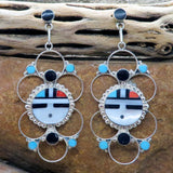 Native American Jewelry-Zuni Sterling Silver & Stone Inlay SUNFACE Dangle Earrings-Bryant Othole and Vivianita Booqua