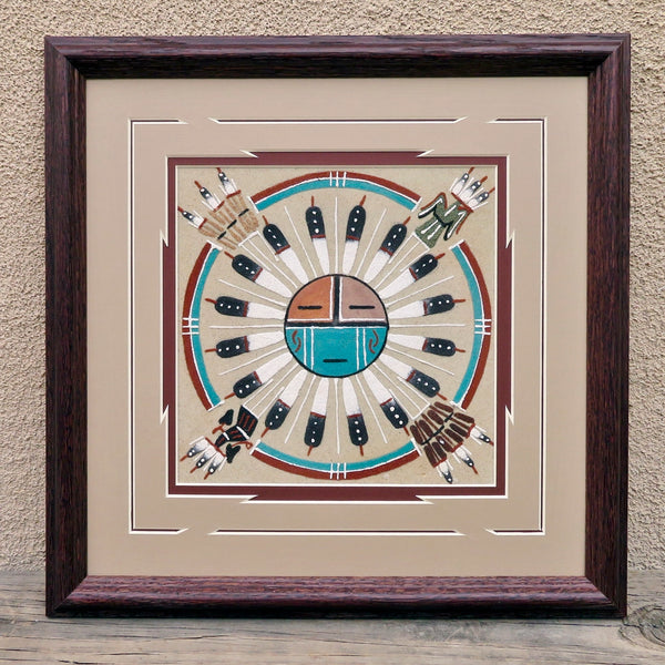 Native American Art-Navajo Sand Painting - Framed Sandpainting - SUNFACE Design-Glen Nez
