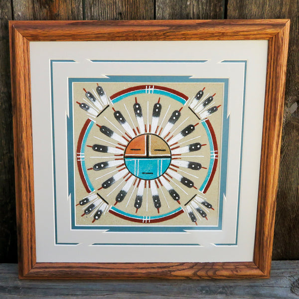 Native American Indian Navajo Framed Sandpainting - SUNFACE Design-Glen Nez