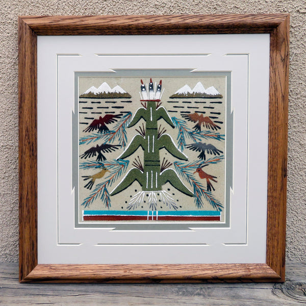 Native American Art-Navajo Sand Painting - Framed Sandpainting - TREE OF LIFE Design-Glen Nez