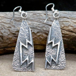 Native American Jewelry-Navajo/Dine-Large Sterling Silver Tufa Cast Dangle Earrings-AARON ANDERSON