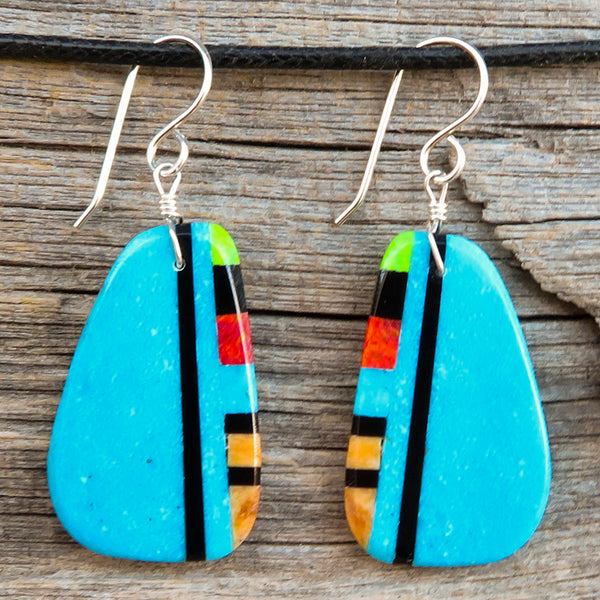 Native American Jewelry-Santo Domingo/Kewa Pueblo-Turquoise & Stone Inlay Earrings-Ronald Chavez
