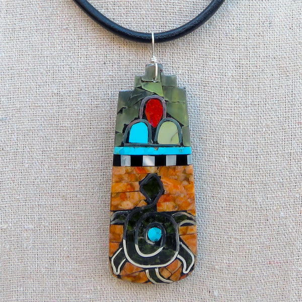 Native American Jewelry-Santo Domingo/Kewa Pueblo-Multi-Stone Large Mosaic Inlay TURTLE Pendant-Warren Nieto and Oneida Caté