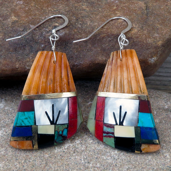 Native American Jewelry-Santo Domingo/Kewa Pueblo-Spiny Oyster Shell with Stone Inlay Earrings - Warren Nieto & Oneida Caté