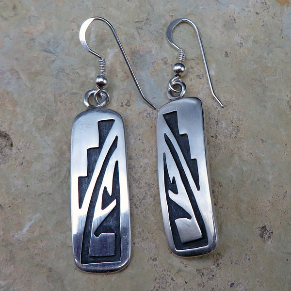 Native American Jewelry-Hopi-Sterling Silver Overlay Earrings-Ambrose Namoki, Sr.