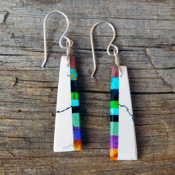 Native American Jewelry-Santo Domingo/Kewa Pueblo-White Block & Stone Inlay Earrings-Ronald Chavez