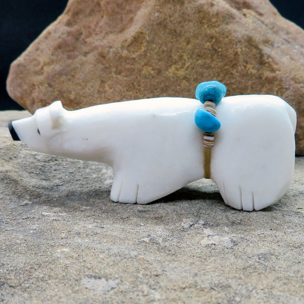 Native American Zuni Fetish Carving-Marble WHITE WALKING BEAR -Spirit Animal-Tim Lementino