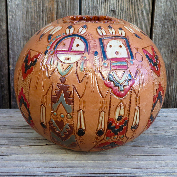 Native American Pottery-Authentic Clay Pottery-Navajo Hand Built Pine Pitch Pot with Yei Design-Kenneth White