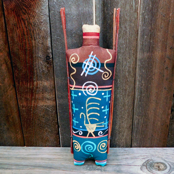 Native American Folk Art-Navajo Wall Art-Handmade Navajo Yei God Soft Sculpture Doll-Peter Ray James