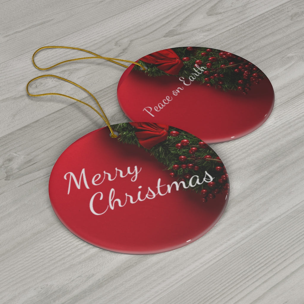 Merry Christmas Peace on Earth Ceramic Ornaments