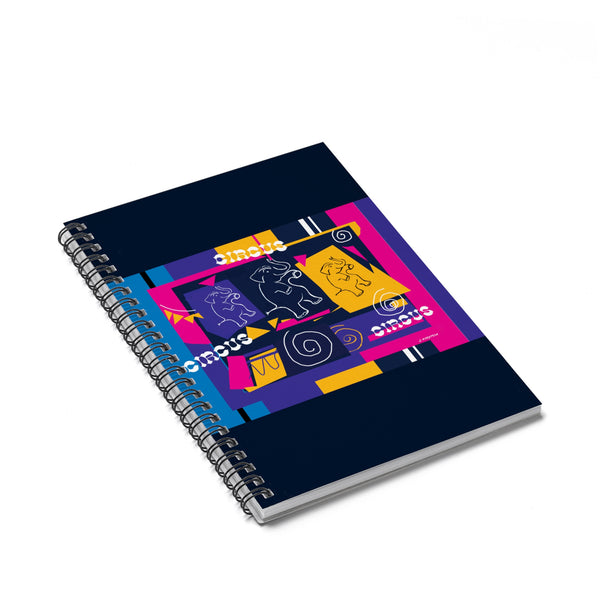 My Circus Buddies Spiral Notebook - Ruled Line Pink and Purple - Kirsteinfineart