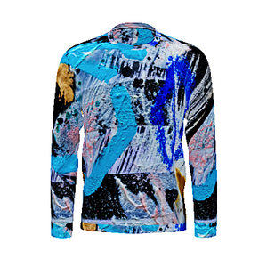 Blue Fire Python Men's Long Sleeved T-Shirt