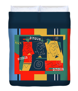 Circus Buddies Duvet Cover Red and Blue - Kirsteinfineart