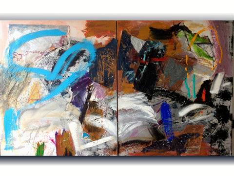 "2 ""From Memories 1."" Mixed Media painting on stretched canvas diptych."