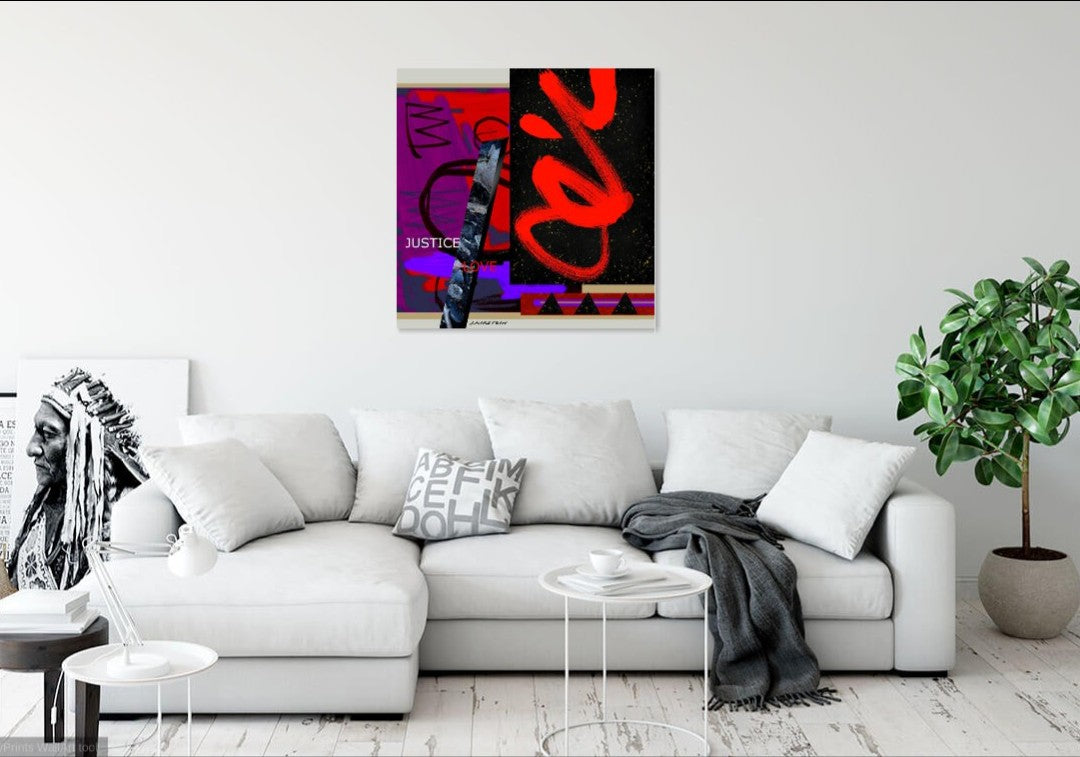 Justice and Love in Red and Purple Archival Giclee Print on Stretched Canvas 25% OFF LTO