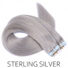 silver grey tape hair extensions