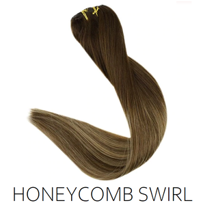 #4/4-16 Honeycomb Swirl Ombre Balayage Clip in Human Hair Extensions