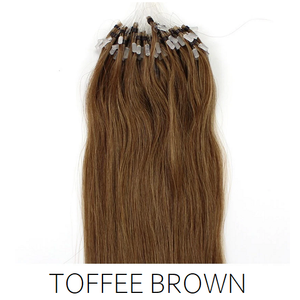 #8 Toffee Light Brown  Easy Loop Micro Bead Hair Extensions