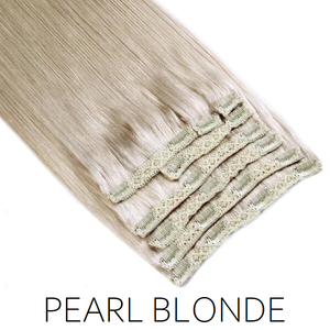 #60A Pearl Blonde Clip in Human Hair Extensions