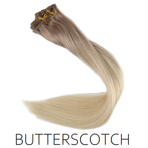 #18/60 Butterscotch Ombre Balayage Clip in Human Hair Extensions