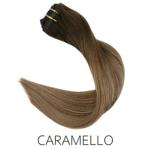#2/4/22 Caramello Ombre Balayage Clip in Human Hair Extensions