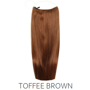 #8 Toffee Warm Light Brown Red Halo Hair Extensions