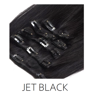 #1 Jet Black Clip in Human Hair Extensions