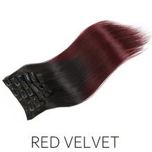 #1B/99J Red Velvet Ombre Balayage Clip in Human Hair Extensions