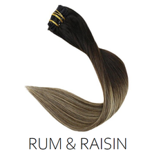 #1B-12/18 Rum & Raisin Ombre Balayage Clip in Human Hair Extensions