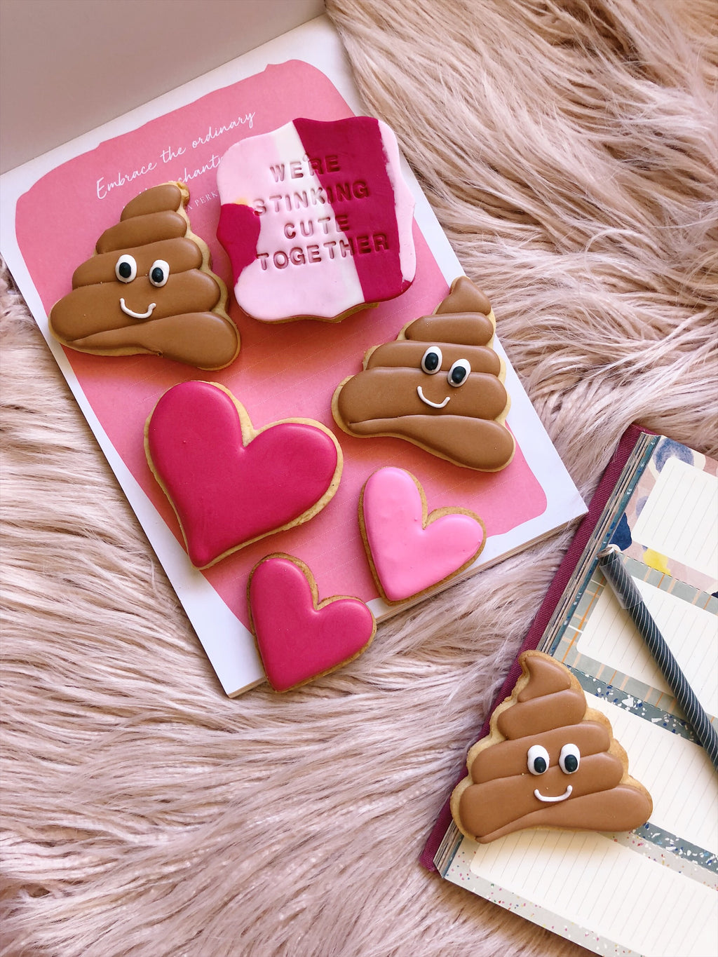 We're Stinkin' Cute Together – Poop & Hearts Cookies - Sugar Rush by Steph
