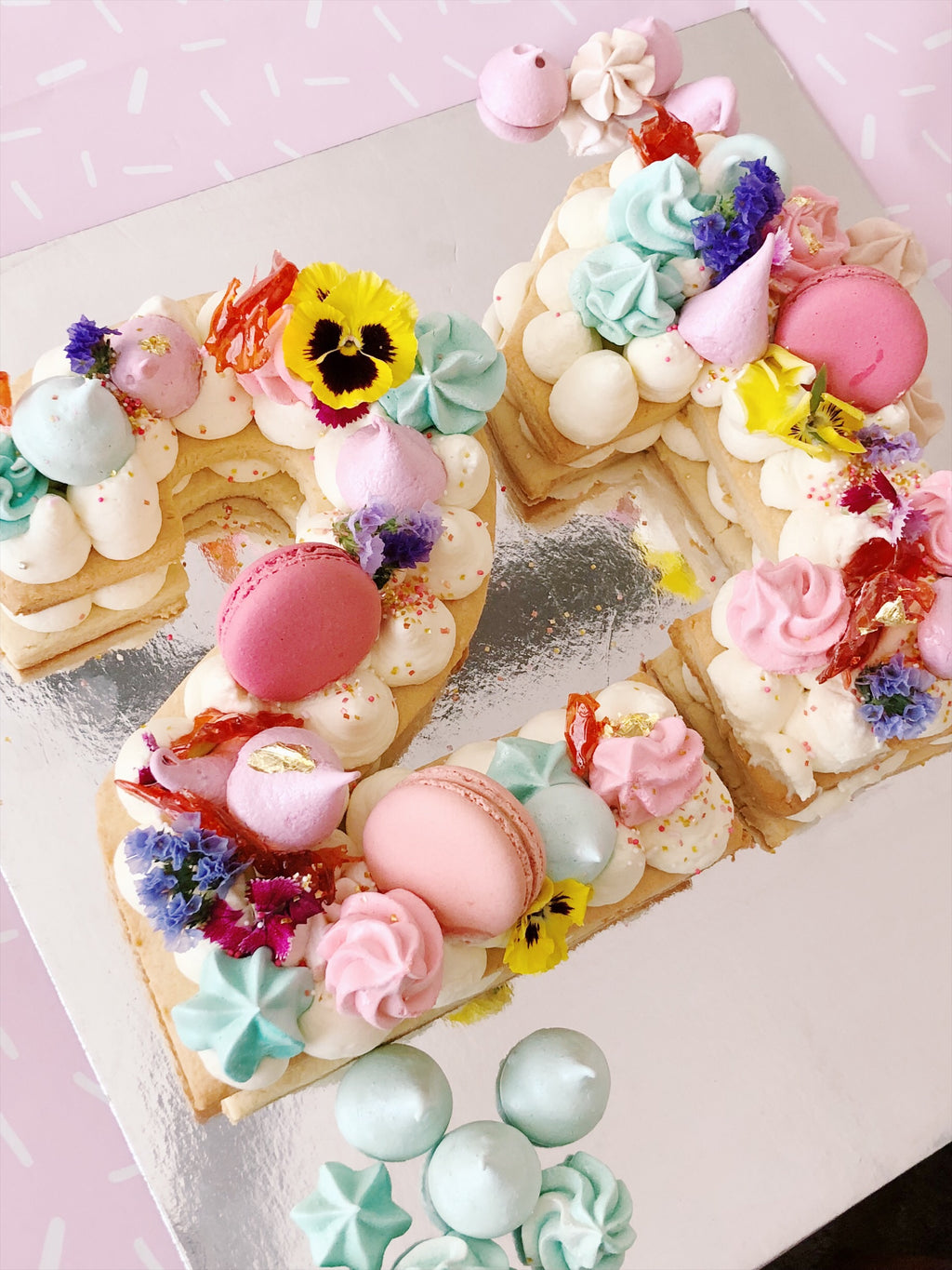 Cookie cake with Meringue Kisses and Macarons - Sugar Rush by Steph