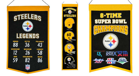 Three samples of banners styles - Heritage Sports Banners