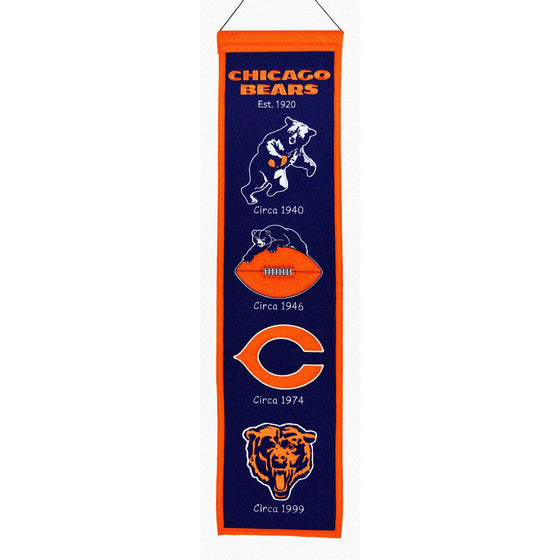 NFL, Chicago Bears, Banners - Narrow, Embroidered Banner, Officially licensed banner, Chicago Bears gift