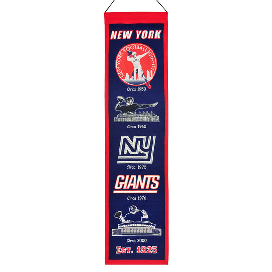 NFL, New York Giants, Banners - Narrow, Embroidered Banner, Officially licensed banner, New York Giants gift