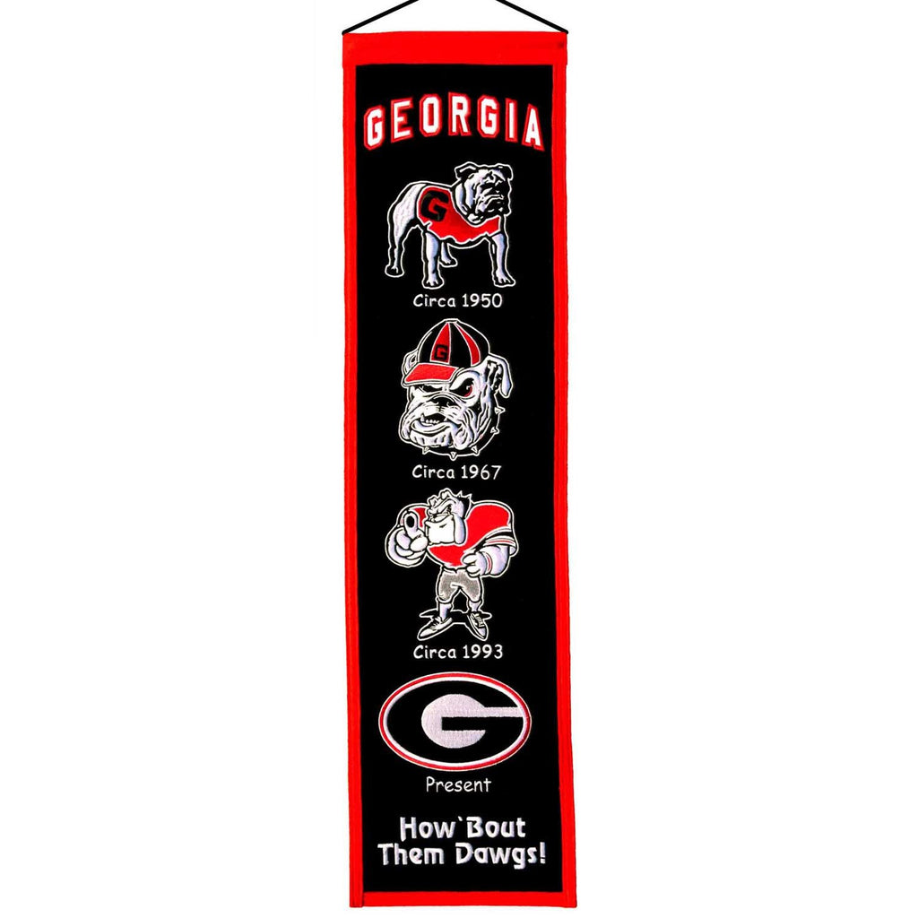 NCAA, Georgia, Banners - Narrow, Embroidered Banner, Officially licensed banner, Georgia gift