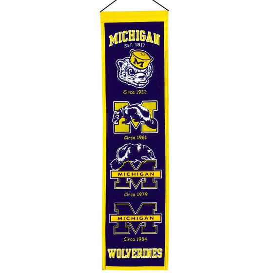 NCAA, Michigan, Banners - Narrow, Embroidered Banner, Officially licensed banner, Michigan gift