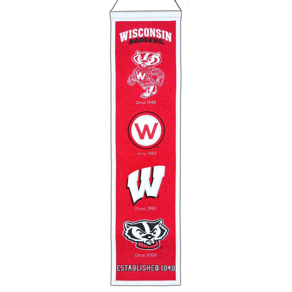 NCAA, Wisconsin, Banners - Narrow, Embroidered Banner, Officially licensed banner, Wisconsin gift