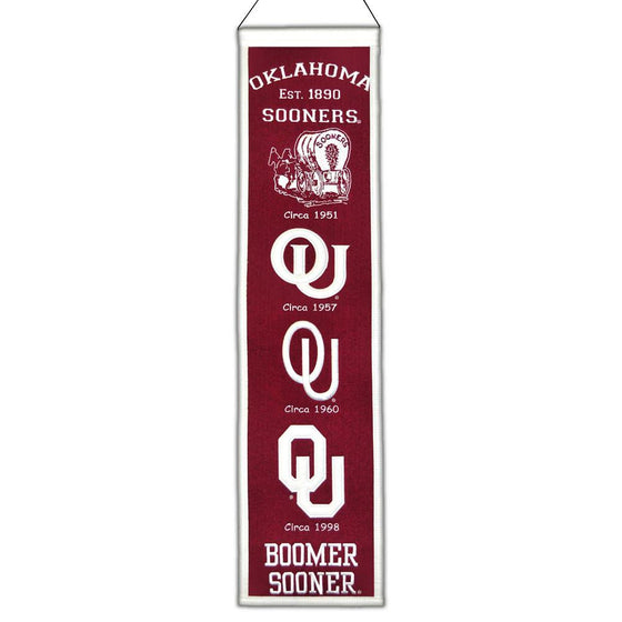 NCAA, Oklahoma, Banners - Narrow, Embroidered Banner, Officially licensed banner, Oklahoma gift