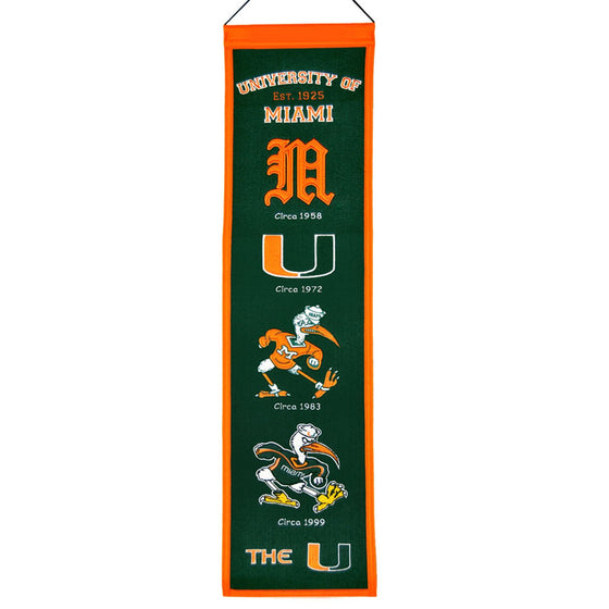 NCAA, Miami, Banners - Narrow, Embroidered Banner, Officially licensed banner, Miami gift