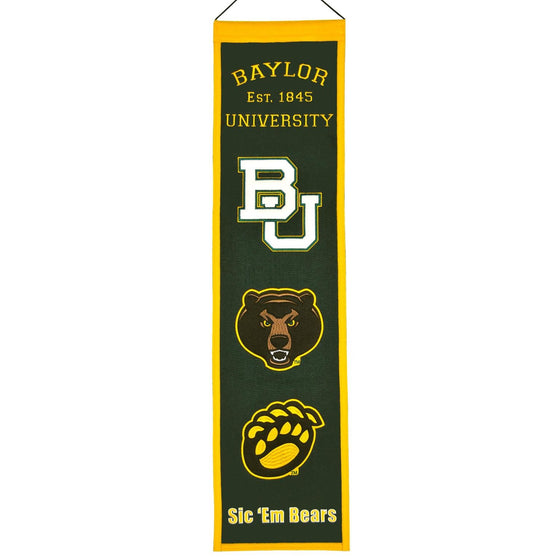 NCAA, Baylor, Banners - Narrow, Embroidered Banner, Officially licensed banner, Baylor gift