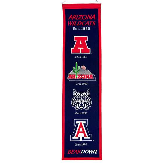 NCAA, Arizona, Banners - Narrow, Embroidered Banner, Officially licensed banner, Arizona gift
