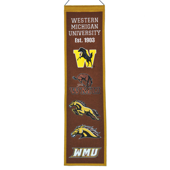 NCAA, Western Michigan, Banners - Narrow, Embroidered Banner, Officially licensed banner, Western Michigan gift
