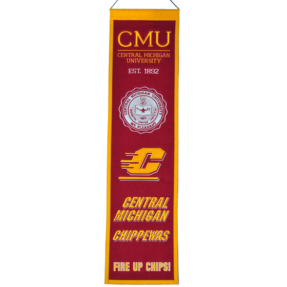 NCAA, Central Michigan, Banners - Narrow, Embroidered Banner, Officially licensed banner, Central Michigan gift