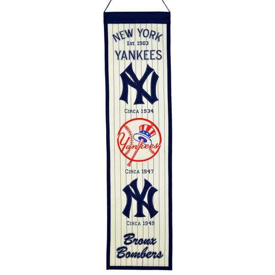 MLB, New York Yankees, Banners - Narrow, Embroidered Banner, Officially licensed banner, New York Yankees gift