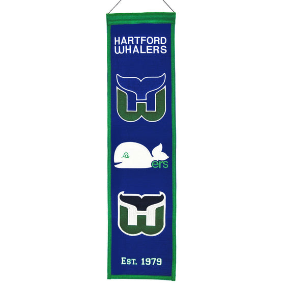 NHL, Carolina Hurricanes, Hartford Whalers, Banners - Narrow, Embroidered Banner, Officially licensed banner, Carolina Hurricanes gift